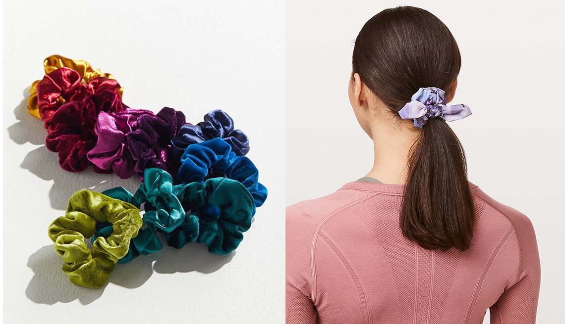 item 4, Gallery image. Bandas para el cabello: Urban Outfitters Perfect 10; Lululemon Uplifting Scrunchie Bow