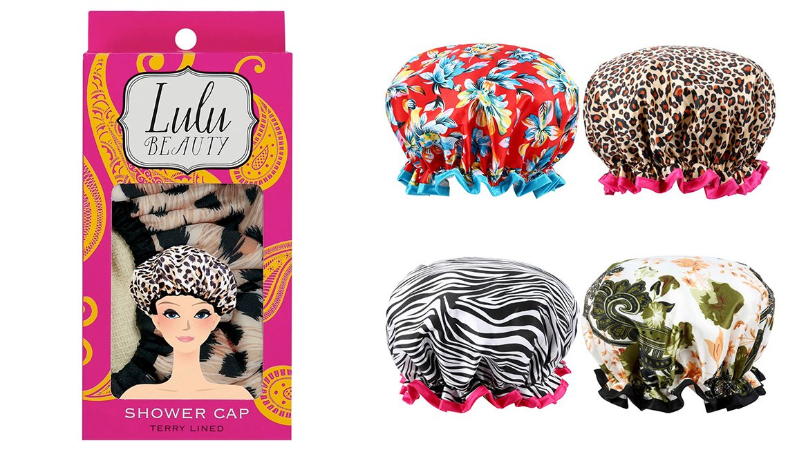 item 7, Gallery image. Gorros de baño: Lulu Beauty Safari Spots Shower Cap; Esarora Shower/ Bath Cap