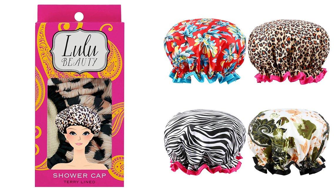 item 8, Gallery image. Lulu Beauty Safari Spots Shower Cap; Esarora Shower/ Bath Cap