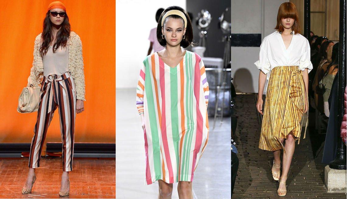item 10, Gallery image. Pantalones de cintura alta en rayado vertical de Eva Mendes para New York & Company; vestido con mangas recto y rayado en color pastel de Chocheng, falda envuelta rayada con blusa blanca de A.W.A.K.E.
