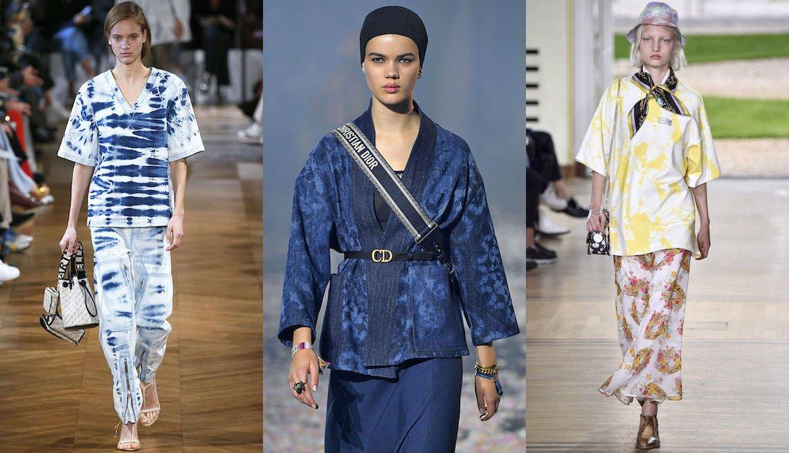 item 3, Gallery image. Blusa y pantalones teñidos en azul y blanco de Stella McCartney; chaqueta kimono teñida en azul sobre falda a mitad de la pantorrilla azul de Dior; falda y blusa teñidas de Paul & Joe.
