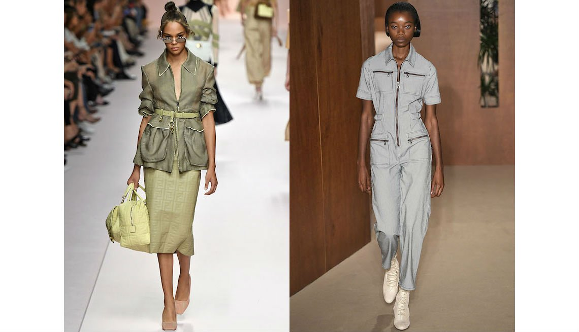 item 2, Gallery image. Fendi cargo jacket with patch pockets over a sleek pencil skirt; Alexa Chung gray utility jumpsuit.