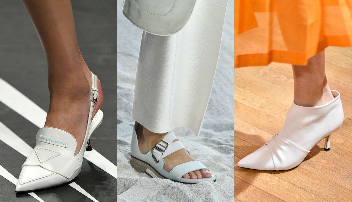 item 9, Gallery image. Zapatillas blancas destalonadas con tacones chupete de Prada; sandalias planas blancas de correa ancha con talón cerrado y puntas abiertas de Hermes; botines tobilleros blancos con tacones chupete de Paul & Joe.