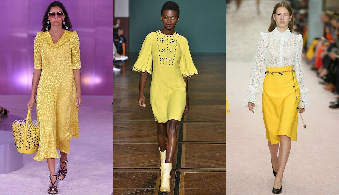 item 5, Gallery image. Minivestido amarillo de Kate Spade; vestido recto en amarillo mantequilla suave con mangas ondeadas al codo de Andrew Gn; falda amarilla con blusa blanca de Carolina Herrera.