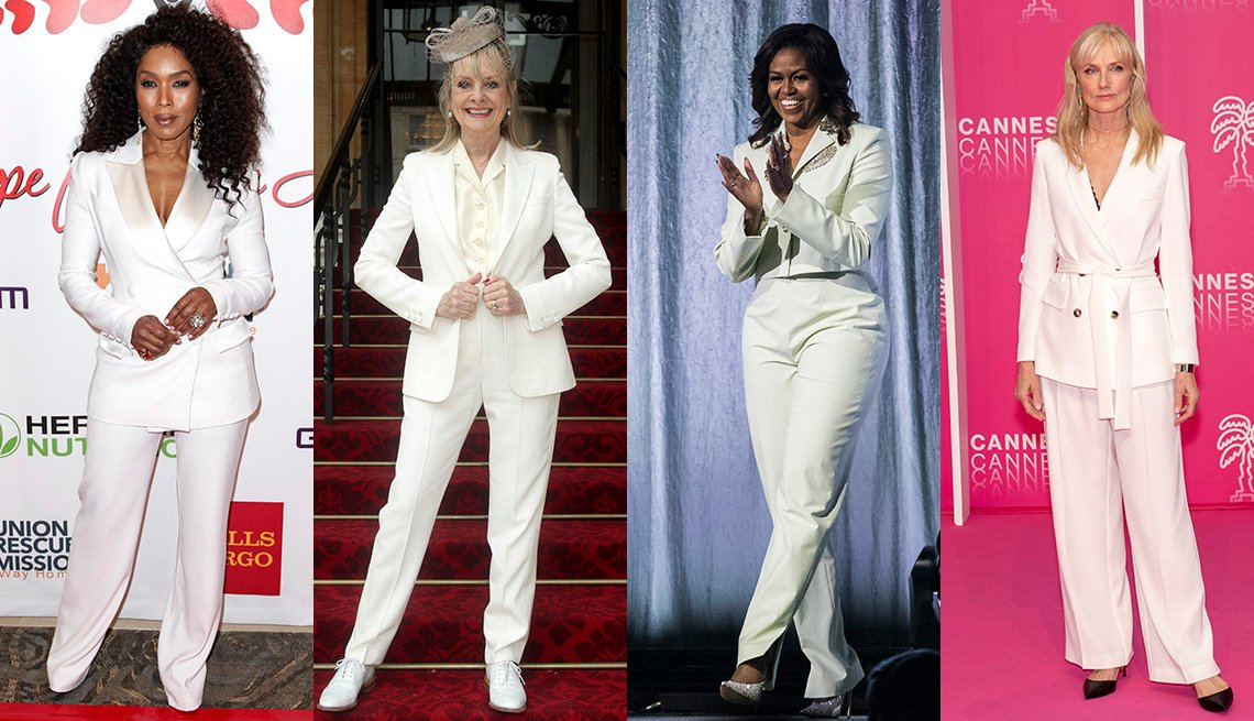 Angela Bassett, Twiggy, Michelle Obama and Joely Richardson in white pantsuits.