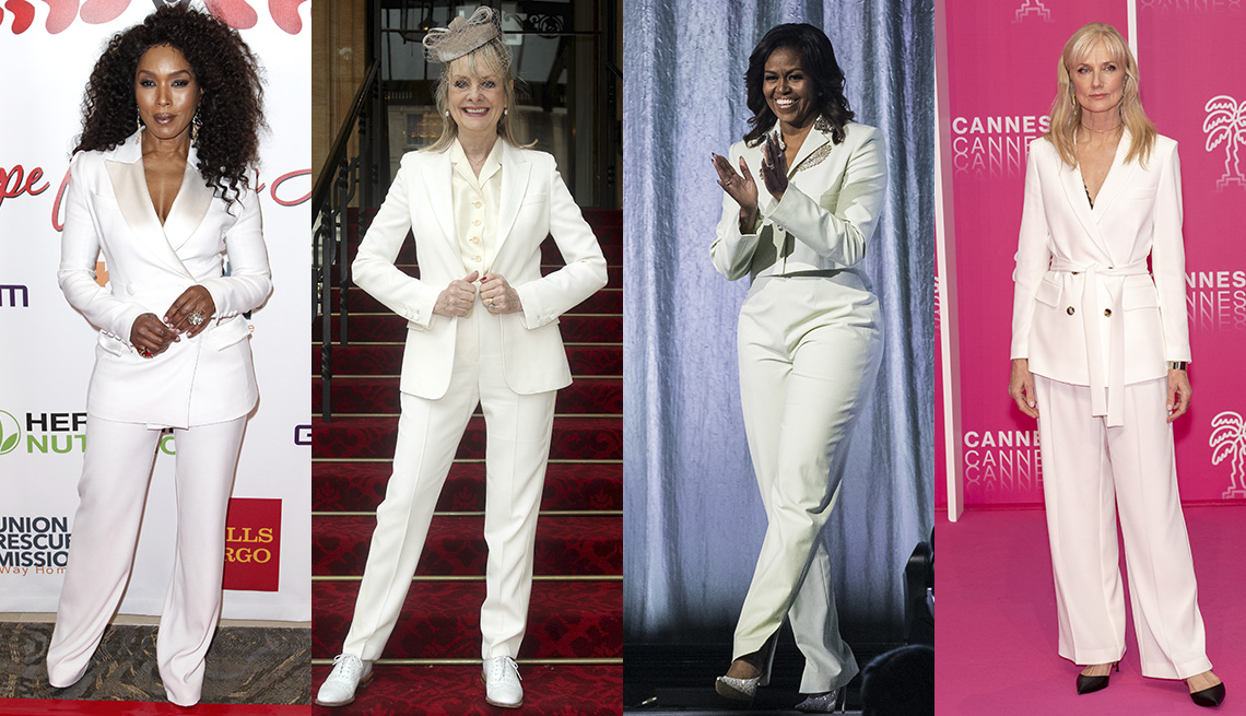 item 5 of Gallery image - Angela Bassett, Twiggy, Michelle Obama and Joely Richardson in white pantsuits.
