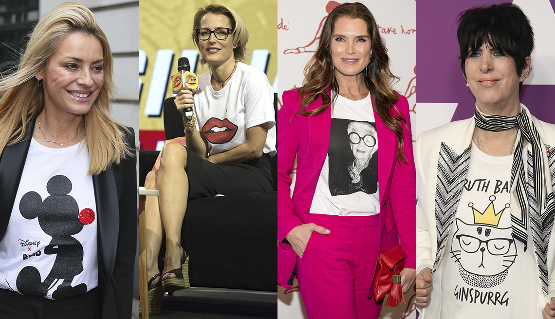 item 8 of Gallery image - Tess Daly in white Mickey Mouse t-shirt under a black blazer, Gillian Anderson in white t-shirt with lips image, Brooke shields in white t-shirt with Iris Apfel image under a pink pantsuit, Diane Warren in white blazer over white logo t-shirt and black pa