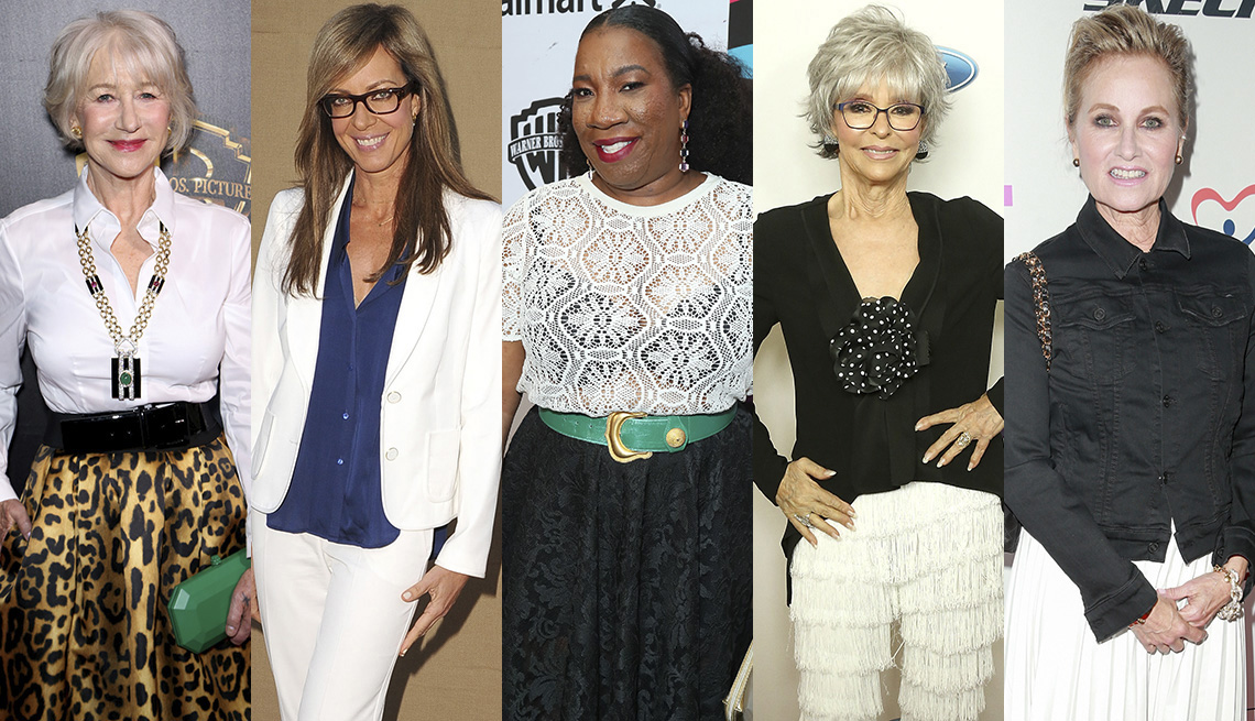 item 10 of Gallery image - Helen Mirren in button down and leopard skirt; Allison Janney in pantsuit and blue silk untucked blouse; Tarana Burke in white crotchet top - note the black bra, Rita Moreno in black dress, Maureen McCormick in white pleated midi