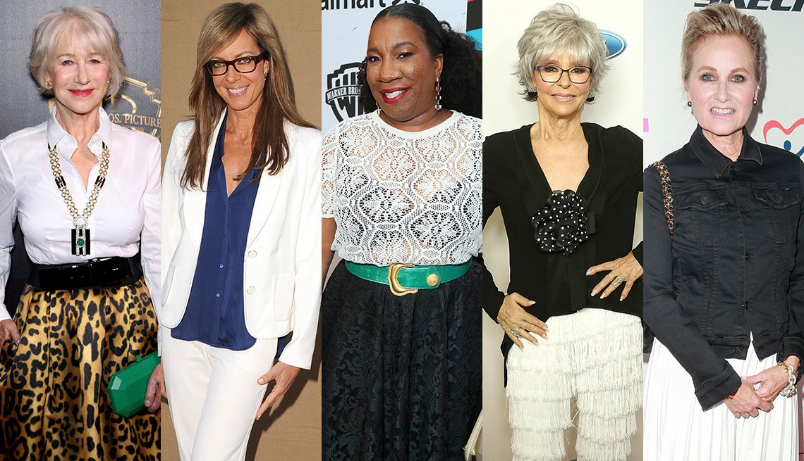 item 10, Gallery image. Helen Mirren in button down and leopard skirt; Allison Janney in pantsuit and blue silk blouse; Tarana Burke in white crotchet top - note the black bra, Rita Moreno in black dress, Maureen McCormick in white pleated midi.