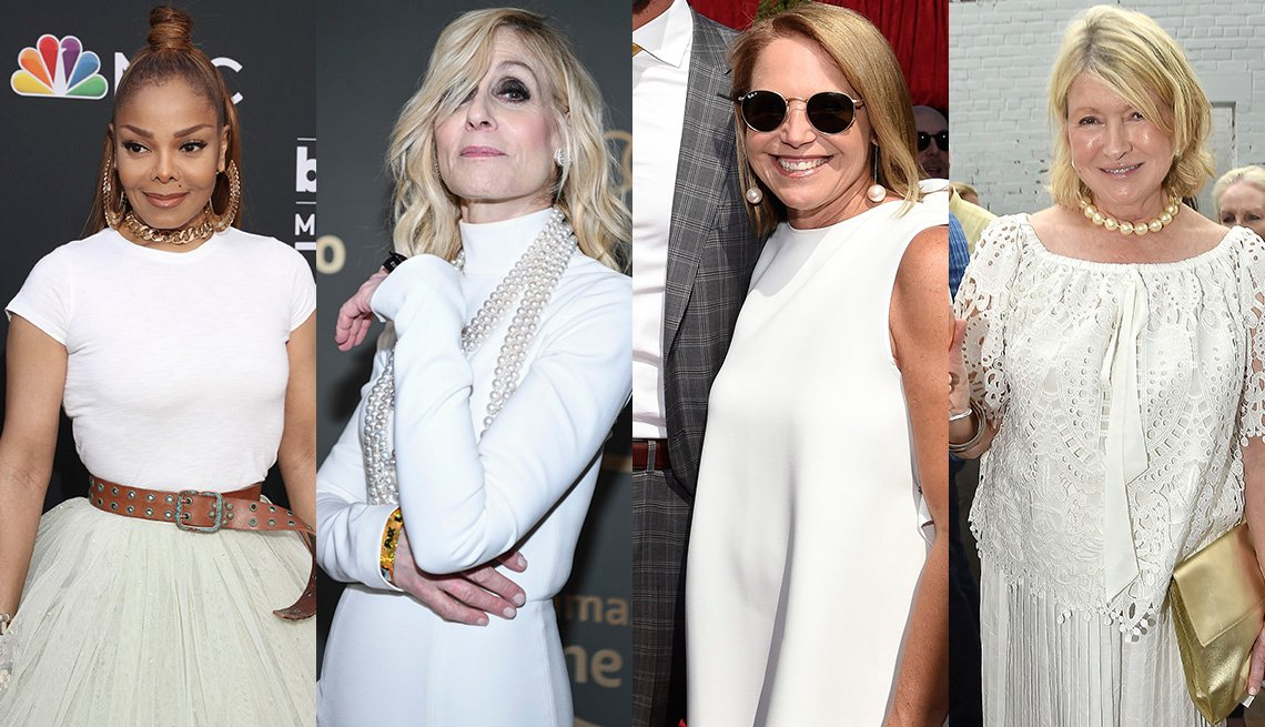 item 11, Gallery image. Janet Jackson in white t-shirt and tulle skirt, statement gold necklace and earrings, Judith Light in ropes of pearls and a turtleneck dress,  Katie Couric in white dress and pearl drops, Martha Stewart in white eyelet top, white skirt.