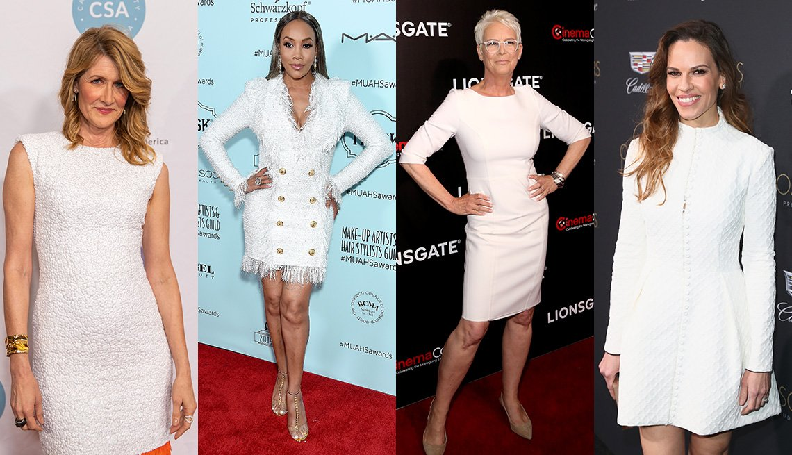 item 3, Gallery image. Laura Dern in white sleeveless textured sheath, Vivica A. Fox in a white tailored double breasted coat dress, Jamie Lee Curtis in a white knee-length boatneck sheath, Hillary Swank in a white long sleeve fit and flare dress.