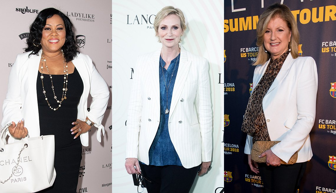 item 4, Gallery image. Lela Rochon adds a white blazer and bag to spark a black dress, Jane Lynch brightens up a blue blouse and black pants with a white blazer,  Arianna Huffington throws a white blazer over a leopard blouse and black pants.
