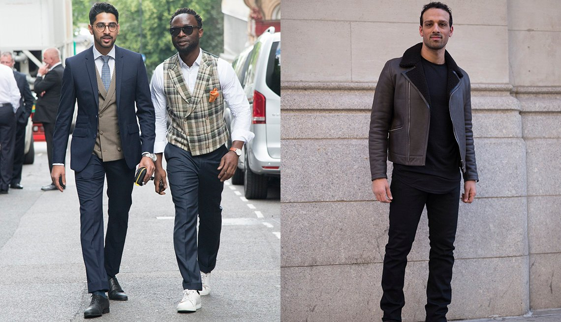 Saad Wadia wears Zara shoes and glasses and a Saran Kohli suit, waistcoat, shirt and tie with Founder of cutsforhim.com Edmund Kamara wearing a Suit Supply waistcoat, trainers and trousers,; Ari'el Stachel at Suitsupply during New York Fashion Week 2018