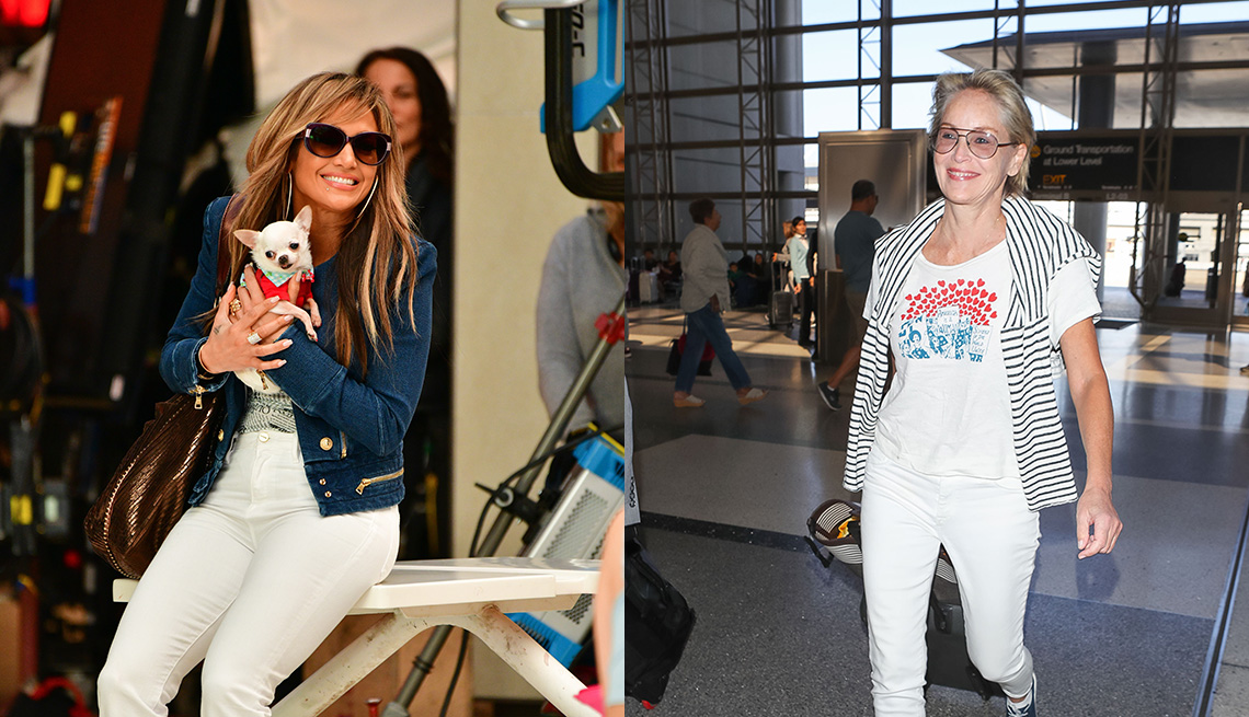 item 1 of Gallery image - Jennifer Lopez in white jeans, denim cropped jacket, metallic hobo ; Sharon stone in white slim ankle jeans and emblem tee, blue sneakers, striped sweater over shoulders