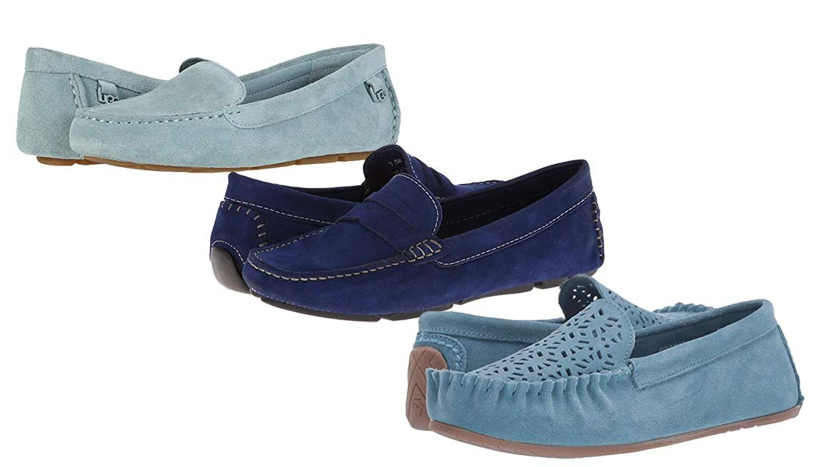 item 10, Gallery image. Ugg Flores in Succulent; Massimo Matteo Penny Keeper in Blue Nubuck; Minnetonka Sophia in Sky Blue Suede