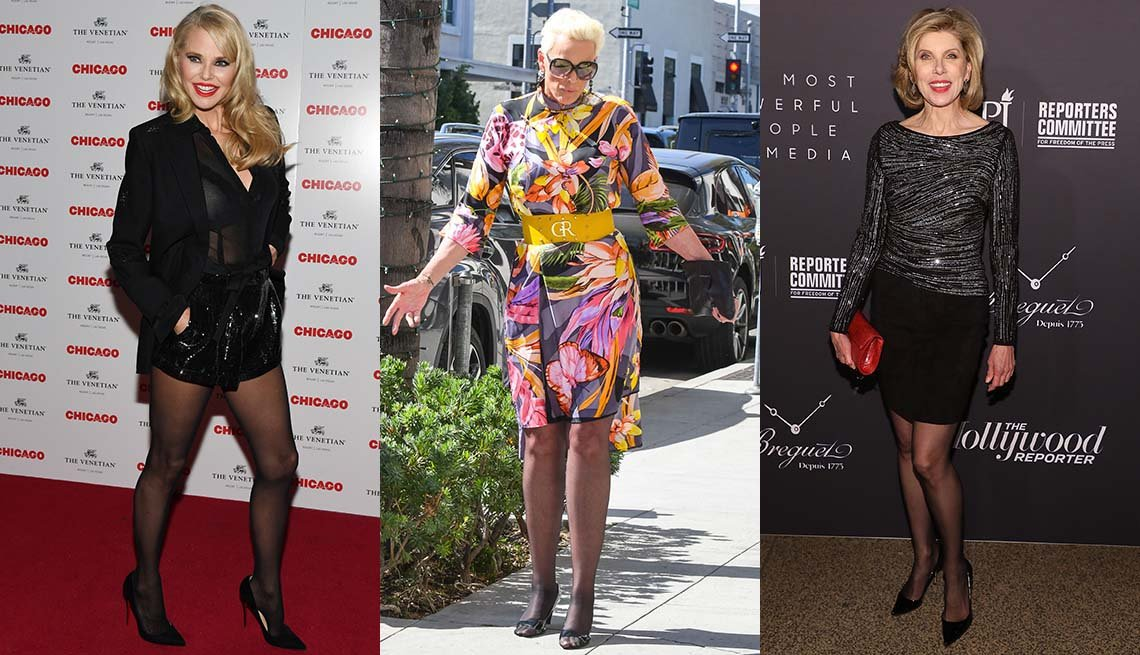 item 2, Gallery image. Christie Brinkley in black sequin short shorts, sheer black blouse and black blazer; Brigitte Nielsen in floral dress, black sheer hose, bag and peep-toes; Christine Baranski in black pencil, sheer black hose and pumps.
