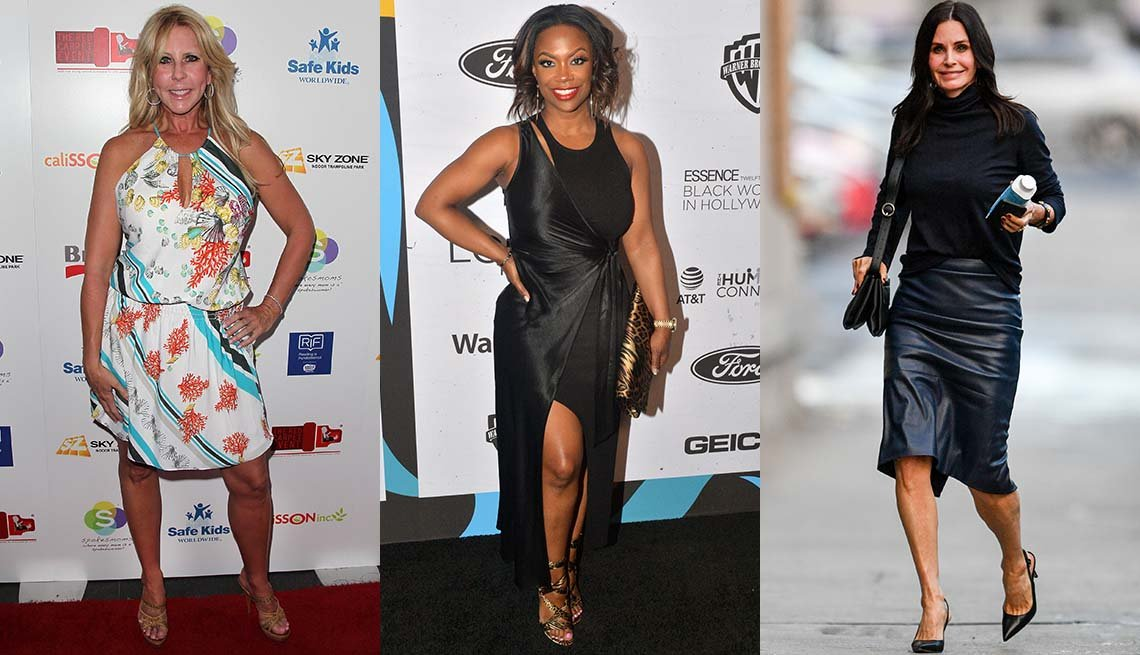 item 6, Gallery image. Vicki Gunvalson in sundress and nude sandals; Kandi Burruss in black dress with leg slit and gold scrappy sandals; Courteney Cox, bare legs and black slingback, black leather pencil skirt and top.
