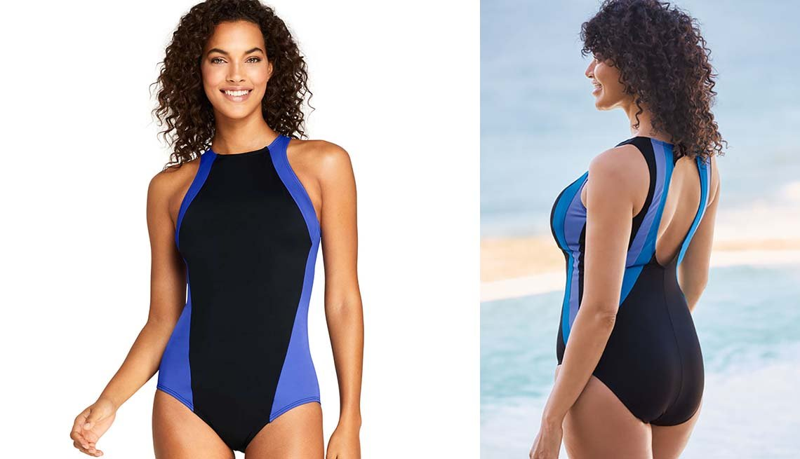 item 3, Gallery image.  Lands' End Women's Chlorine Resistant High-Neck One-Piece; Woman Within Colorblock One-Piece Swimsuit with Shelf Bra