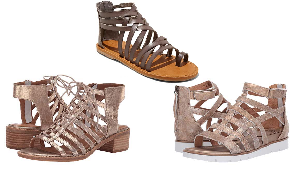 item 8 of Gallery image - Clockwise: Comfortiva Blossom in Gold Calgary Metallic; Universal Thread Makena Gladiator Sandals in Gray; Sofft Mahari in Gold Calgary Metallic