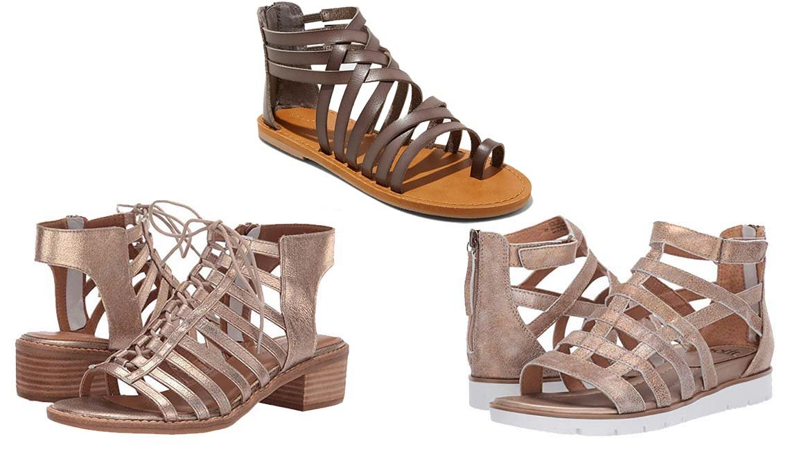 item 8, Gallery image. Comfortiva Blossom in Gold Calgary Metallic; Universal Thread Makena Gladiator Sandals in Gray; Sofft Mahari in Gold Calgary Metallic