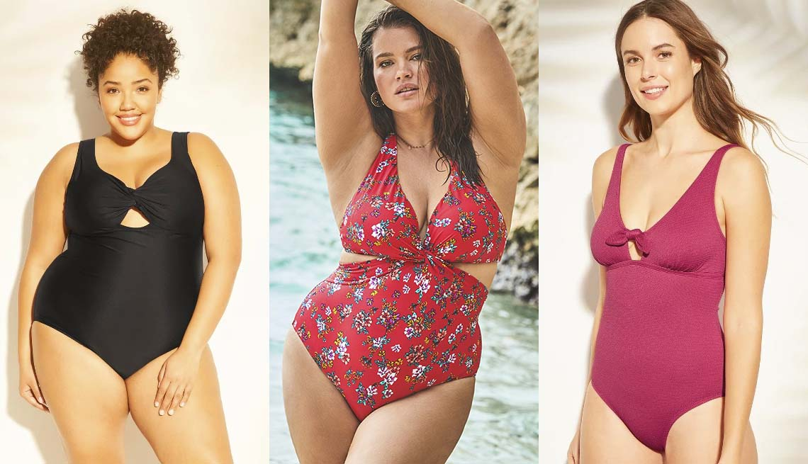 item 11 of Gallery image - Kona Sol Plus-Size Twist-Front Cut-Out One-Piece; Gardenia Cut Out V-neck Halter One Piece; Kona Sol Textured Tie-Front One-Piece Swimsuit