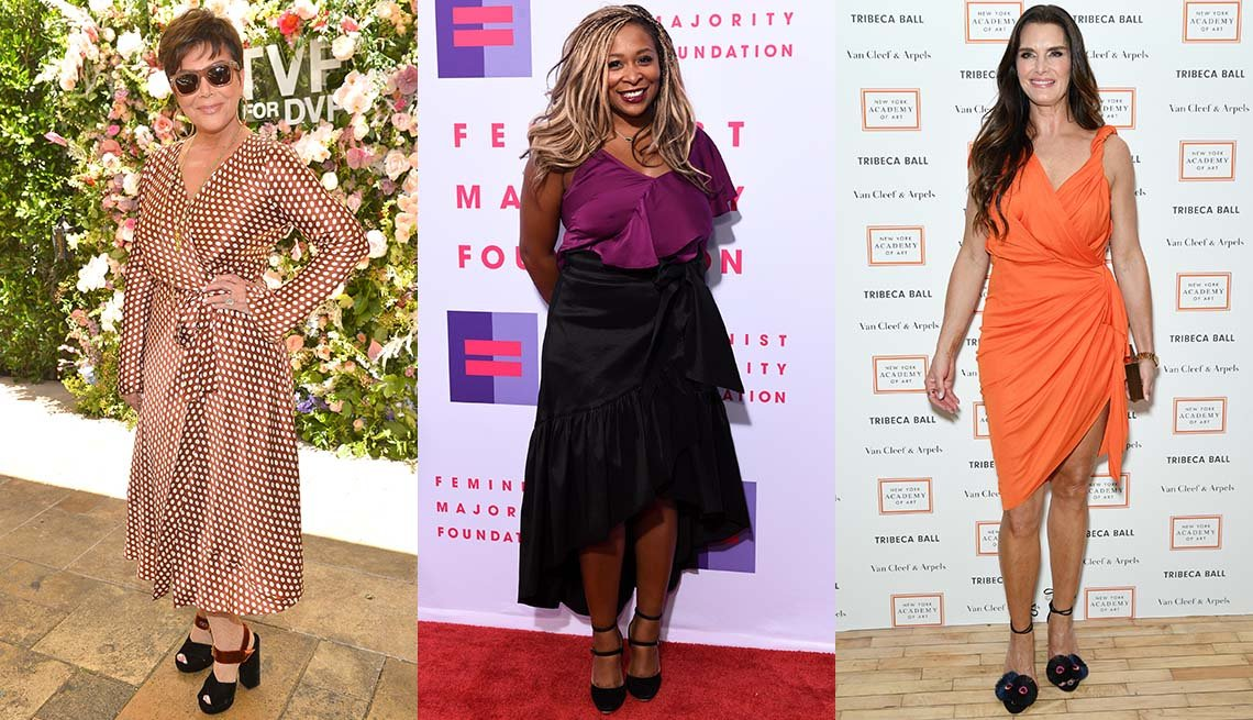 item 7, Gallery image. Kris Jenner in wrap maxi dress and scrappy chunky peep toe heels;  Adama Iwu in asymmetric black ruffled skirt and violet top; Brooke Shields in draped knee-grazing dress with a dramatic slit.