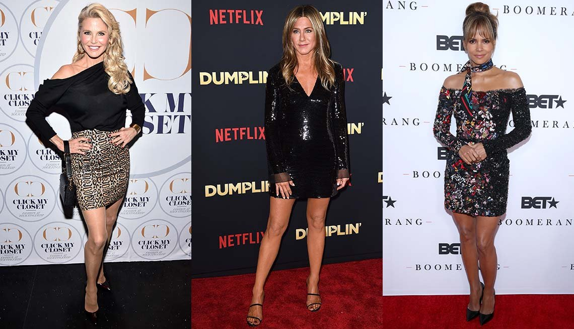 item 4, Gallery image. Christie Brinkley in leopard mini and off-shoulder black top;  Jennifer Aniston in black sequin minidress and scrappy sandals; Halle Berry bare legged and shouldered in minidress.