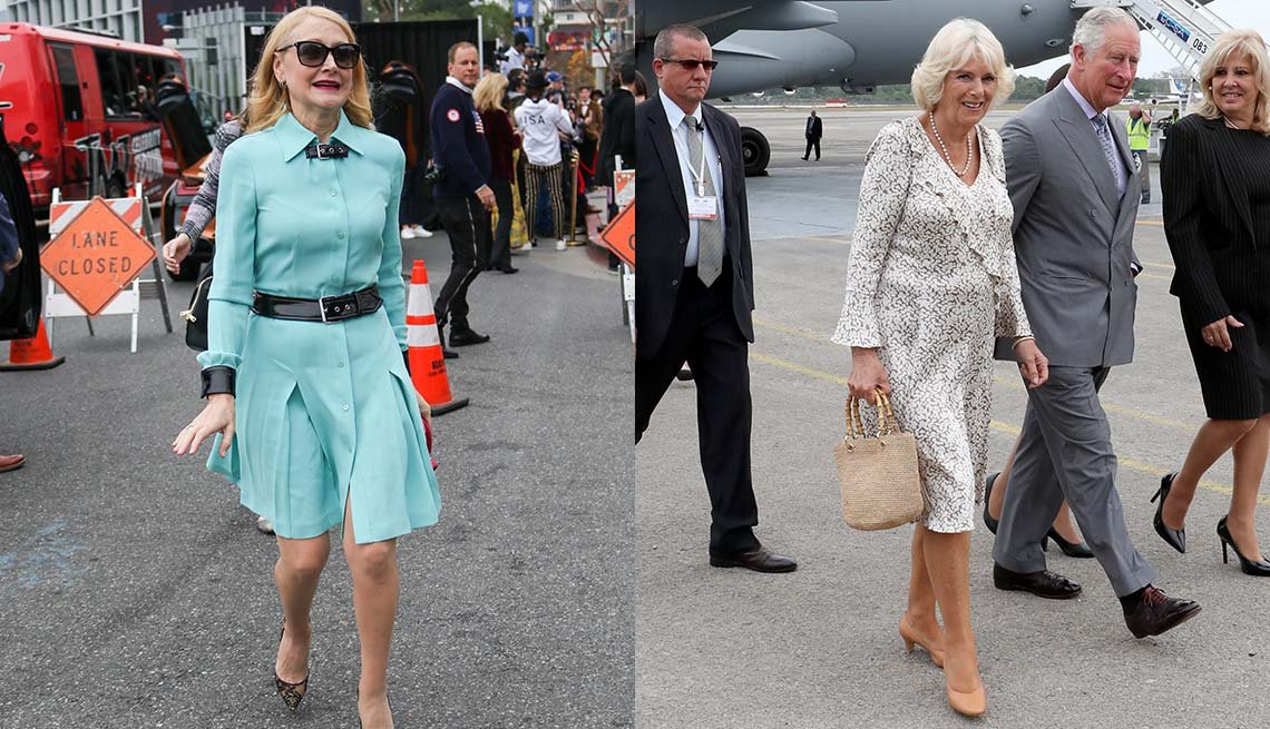 item 3, Gallery image.  Patricia Clarkson in blue tailored shirt dress above the knee and black lace pumps, bare leg look; Camilla Duchess of Cornwall in faux wrap floral dress to just below the knees and low nude heels.