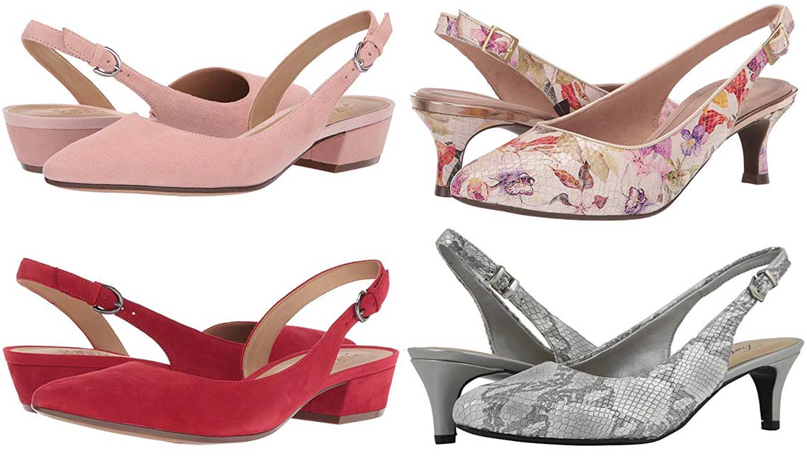 item 7 of Gallery image - Clockwise: Naturalizer Banks in Rose Pink Suede; Rockport Total Motion  Kaiya Sling in Floral; Trotters Keely in Grey;  Naturalizer Banks in Hotsauce Suede
