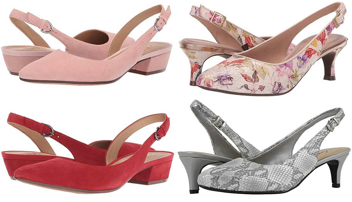 item 7, Gallery image. Clockwise: Naturalizer Banks in Rose Pink Suede; Rockport Total Motion  Kaiya Sling in Floral; Trotters Keely in Grey;  Naturalizer Banks in Hotsauce Suede