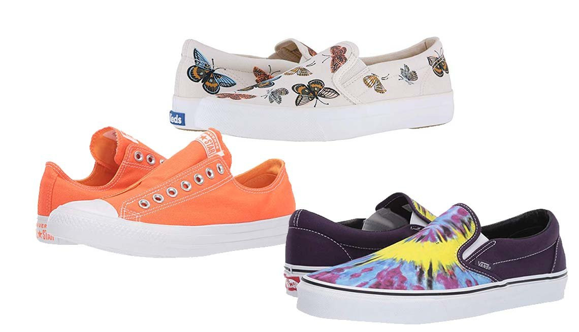 item 9, Gallery image. Converse Chuck Taylor All Star Slip-On in Turf Orange/ Melon Baller; Keds X Rifle Paper Co. Anchor Slip Monarch; Vans Classic Slip-On in Tie Dye Mysterioso