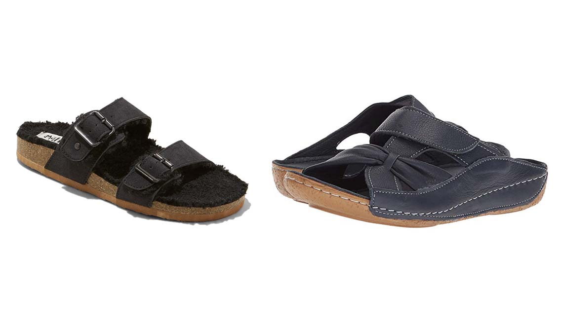 item 5 of Gallery image - Strap Sherpa Footbed Sandals in Cognac; Spring Step Gretta