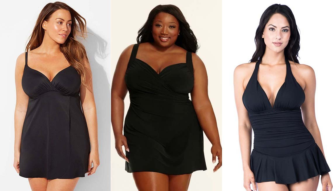 item 5 of Gallery image - Black Flyaway Bra Sized Underwire Swimdress; Dreamsuit by Miracle Brands Women's Plus Slimming Control Swim Dress; Chaps Tummy Slimmer Ruched Swimdress