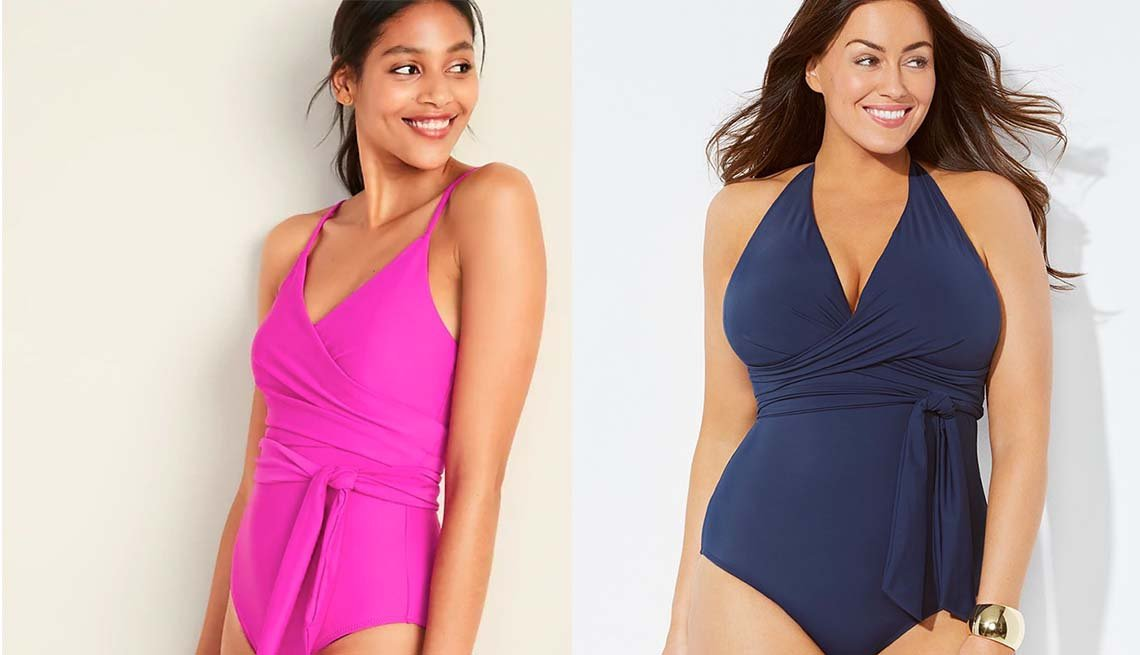 item 2, Gallery image. Old Navy Wrap-front; Swimsuits for All Midnight Faux Wrap Halter One Piece