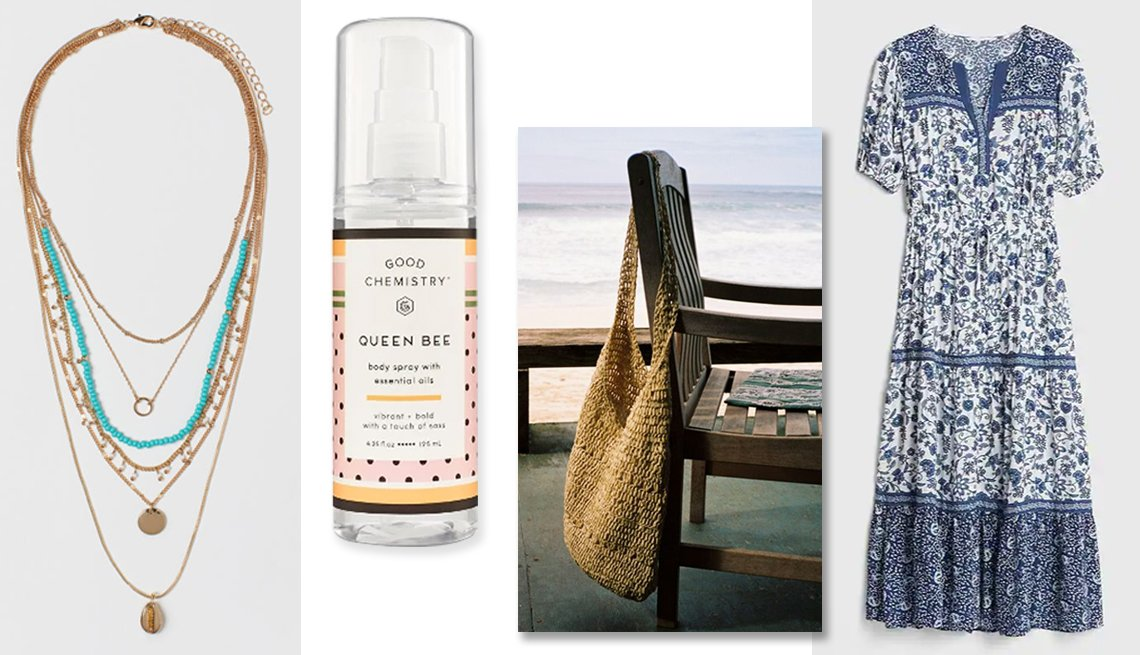 item 2, Gallery image. H & M Multi-strand Necklace; Queen Bee body mist;  UO Soft Straw Tote Bag ; Gap Print Split- Neck Tiered Maxi Dress