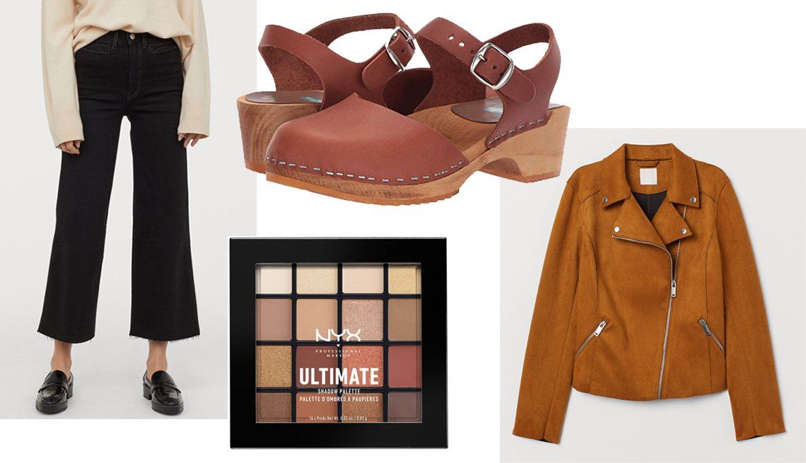 item 9, Gallery image. H & M Black Culotte Cropped Ankle Jeans in black, MIA Sofia Clog Sandals,  NYX Professional Makeup Warm Neutrals Ultimate Eye Palette, H & M brown faux suede biker jacket