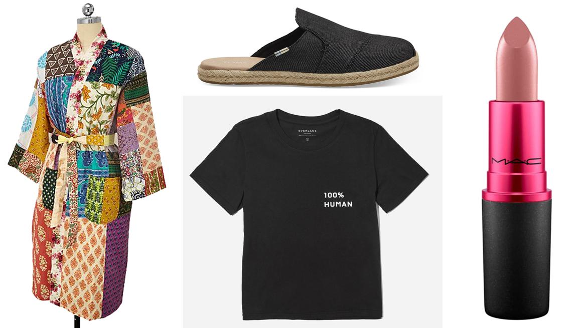 item 15 of Gallery image - Upcycled Cotton Sari Robe; Tom's Black Nova Slip-On Espadrilles; Everlane 100 % Human Box-Cut Tee; MAC Viva Glam V Lipstick