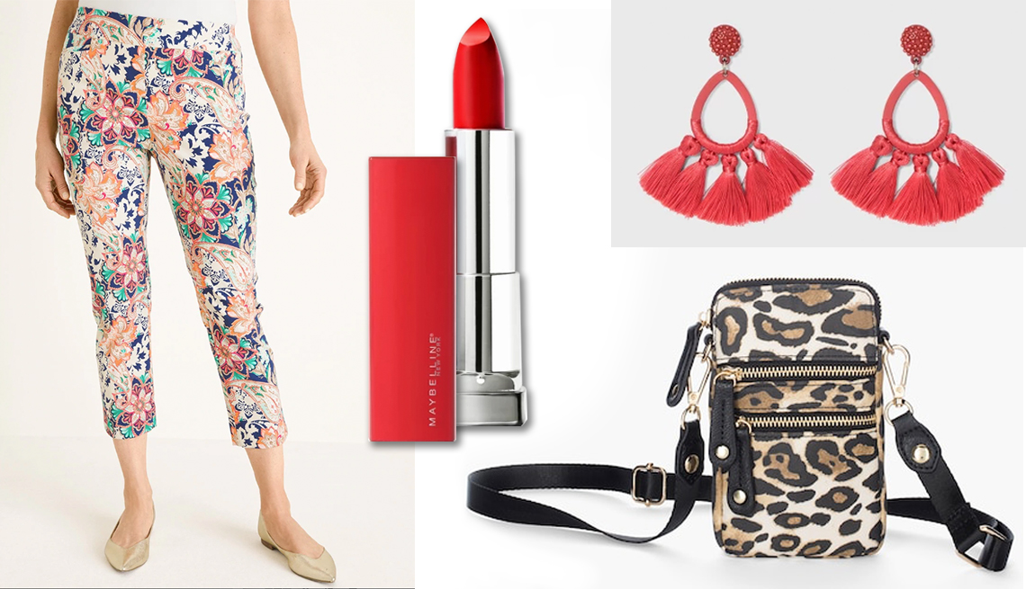 item 6 of Gallery image - Chico's So Slimming Brigitte Floral Cropped Pants; Maybelline Sensations Made For All Lipstick in Red for Me, Fuchsia for Me and Plum for Me; SUGARFIX by BaubleBar Tassel Fringe Hoop Earrings; Chico's Animal Print  Crossbody Cell Phone Case