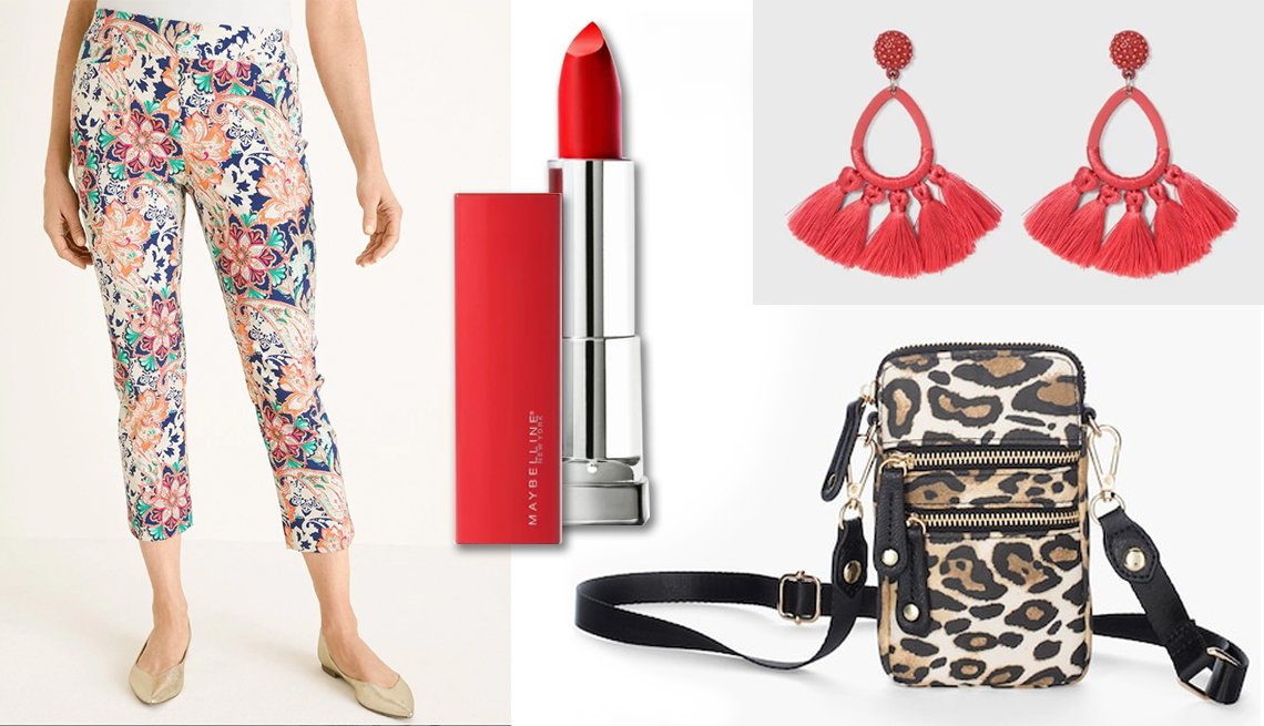 item 6, Gallery image. Chico's So Slimming Brigitte Floral Cropped Pants; Maybelline Sensations Made For All Lipstick in Red for Me; SUGARFIX by BaubleBar Tassel Fringe Hoop Earrings; Chico's Animal Print  Crossbody Cell Phone Case