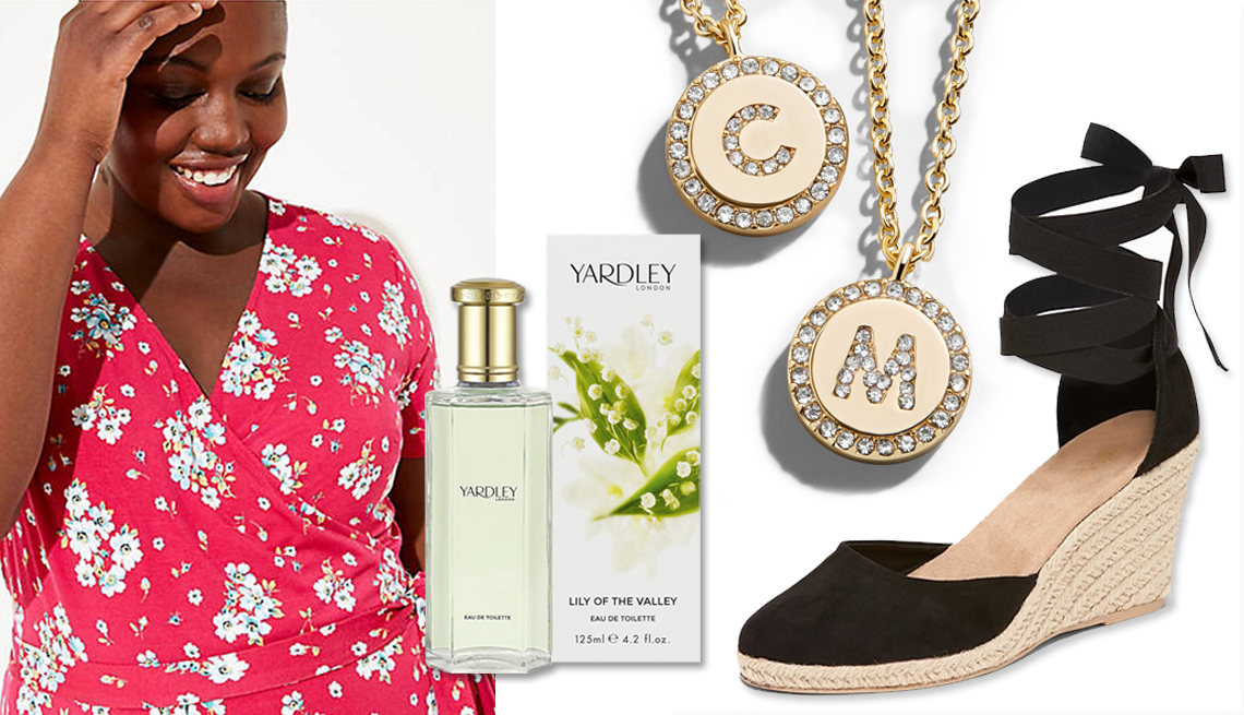 item 4 of Gallery image - (l to r) Loft Plus Floral Wrap Dress in Red; Yardley of London Lily of The Valley Eau de Toilette Spray; BaubleBar Pave Initial Necklace ; Old Navy Faux Suede Espadrille Wedges in Black