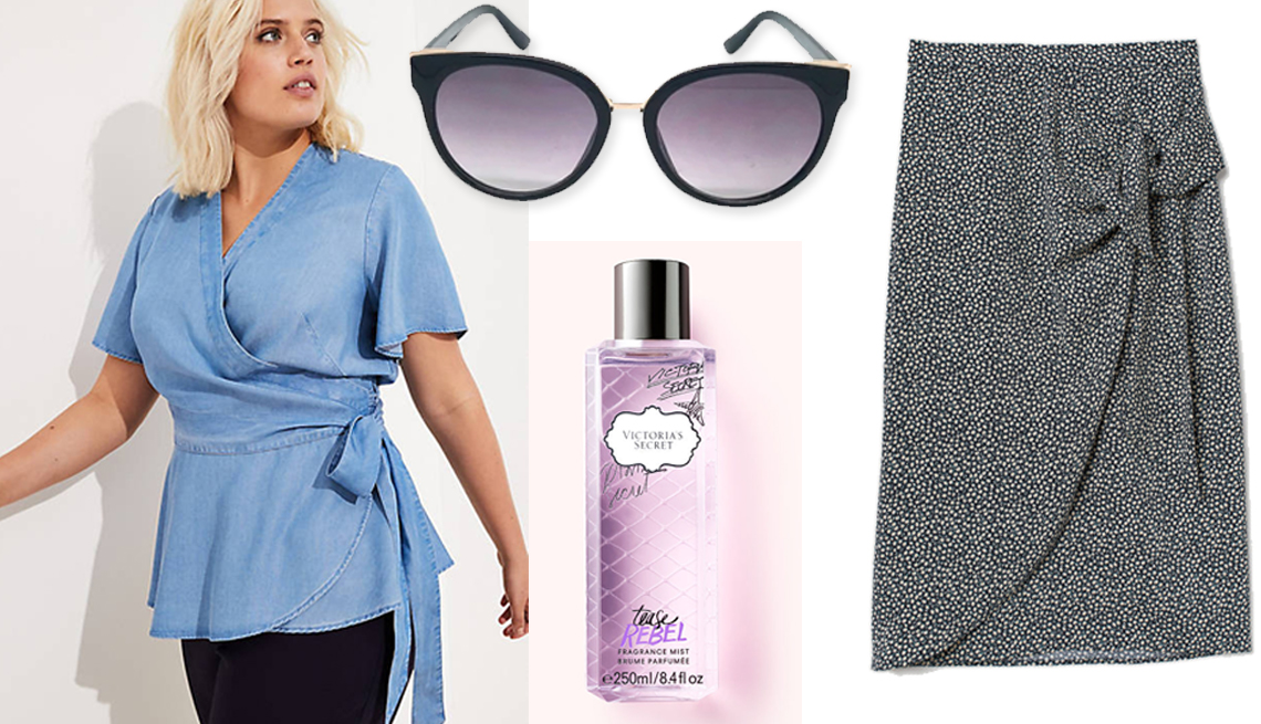 item 13 of Gallery image - Loft Plus Flutter Chambray Wrap Top; A New Day Cateye Sunglasses in Black ; Victoria's Secret Tease Rebel Fragrance Mist;  H & M Draped Wrap-Front skirt