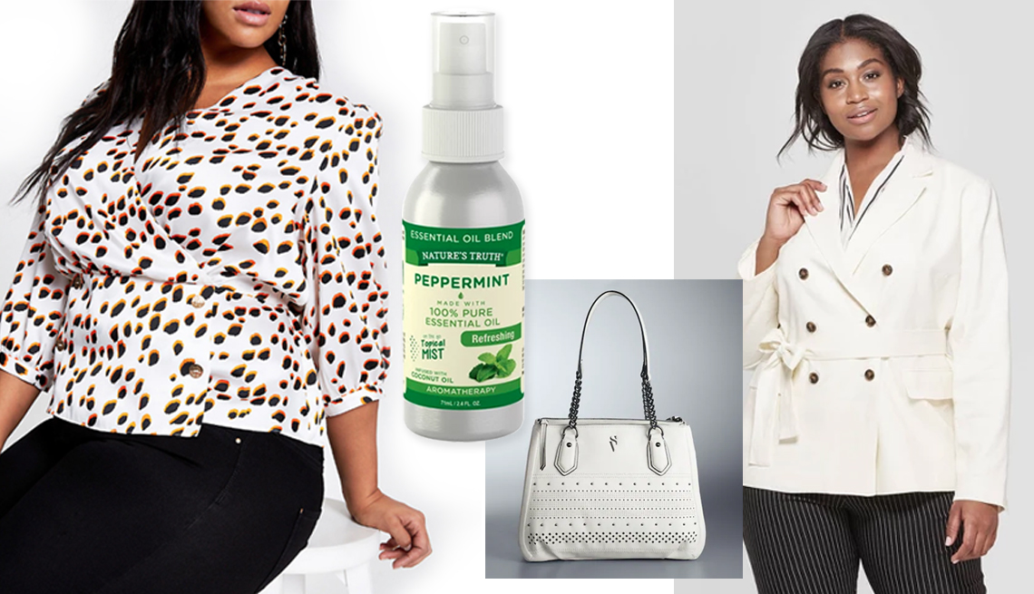 item 11 of Gallery image - River Island Plus Spot Wrap Blouse; Nature's Truth Peppermint Mist Aromatherapy Natural Oil; Simply Vera Vera Wang Bedford  Triple Entry Satchel in White Perf; Plus-Size Women's Double Breasted Belted Blazer in White by Who What Wear