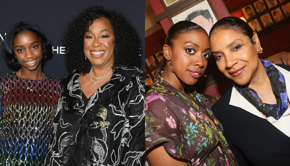 item 10, Gallery image. (l to r) Harper Rhimes and her mother Shonda Rhimes; Condola Rashad and her mother Phylicia Rashad