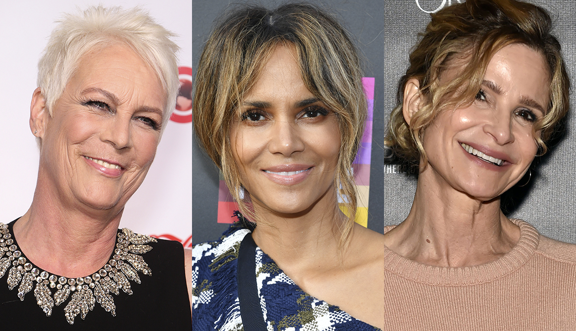 item 11 of Gallery image - Jamie Lee Curtis in white hair that contrasts with her golden beige skin-tone; Halle Berry's tousled hair is loosely pulled back with caramel balayage streaks; Kyra Sedgwick in casually pulled back hair- balayage honey blonde streaks.