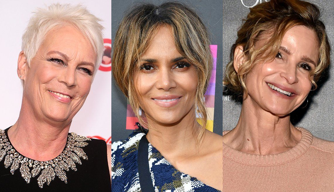 item 11, Gallery image. Jamie Lee Curtis in white hair that contrasts with her golden skin-tone; Halle Berry's tousled, loosely pulled back hair with caramel balayage streaks; Kyra Sedgwick in pulled back hair, balayage honey blonde streaks.