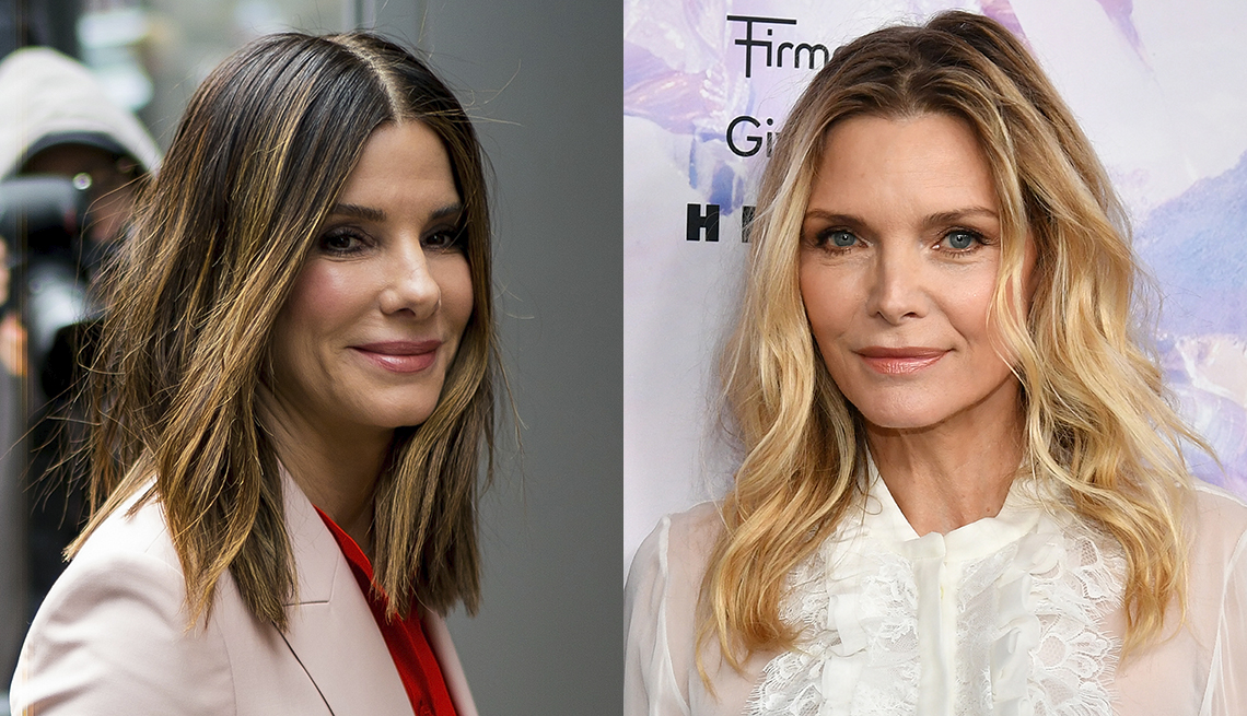 item 10 of Gallery image - Sandra Bullock shines in balayage highlights; Michelle Pfeiffer in natural wavy hair, ombre blonde darker at roots, scrambled part, white blouse.