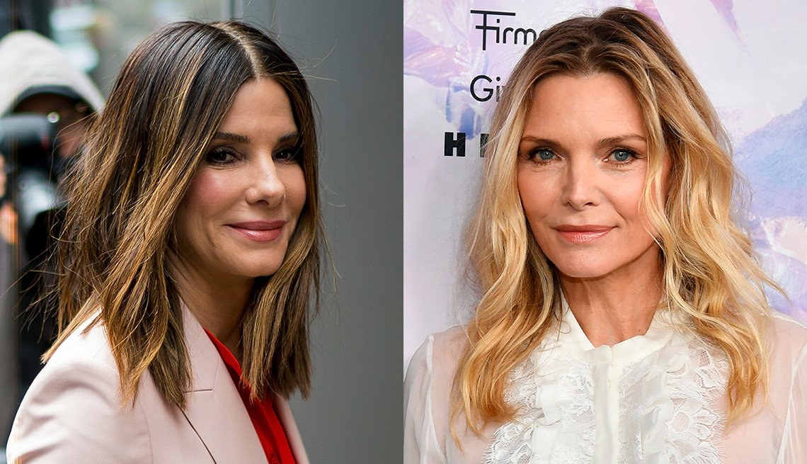 item 10, Gallery image. Sandra Bullock shines in balayage highlights; Michelle Pfeiffer in natural wavy hair, ombre blonde darker at roots, scrambled part, white blouse.