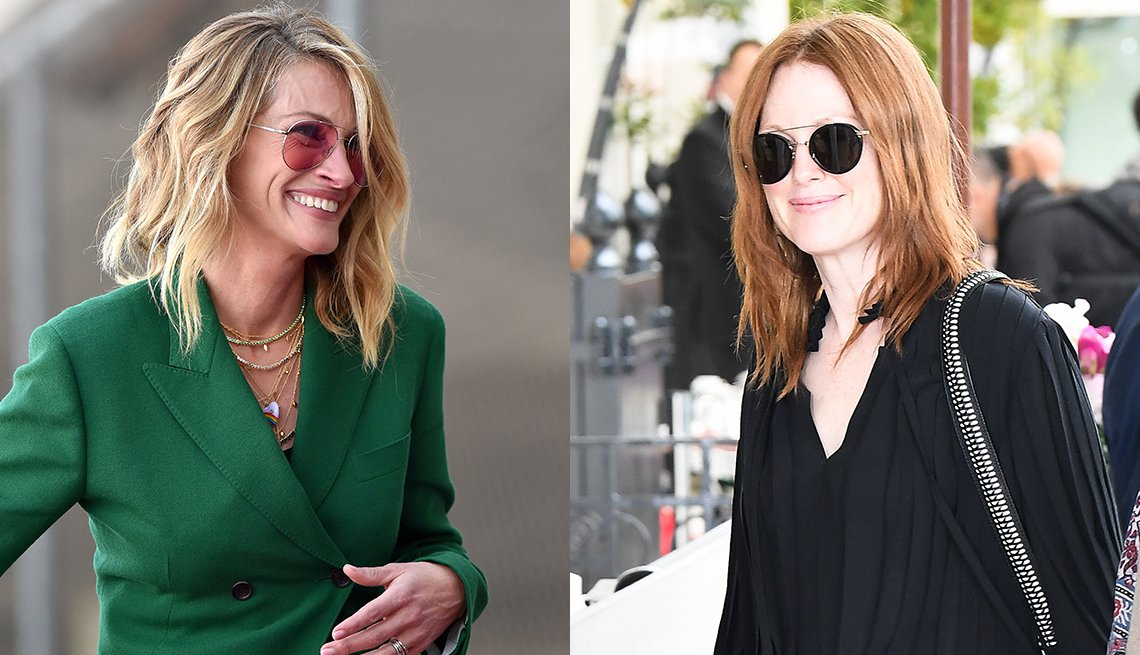 item 12, Gallery image. Julia Roberts in bendy tousled lob, glowing natural makeup and rose-tinted aviators; Julianne Moore, center part lob with choppy ends, sunglasses and black blouson summer dress.
