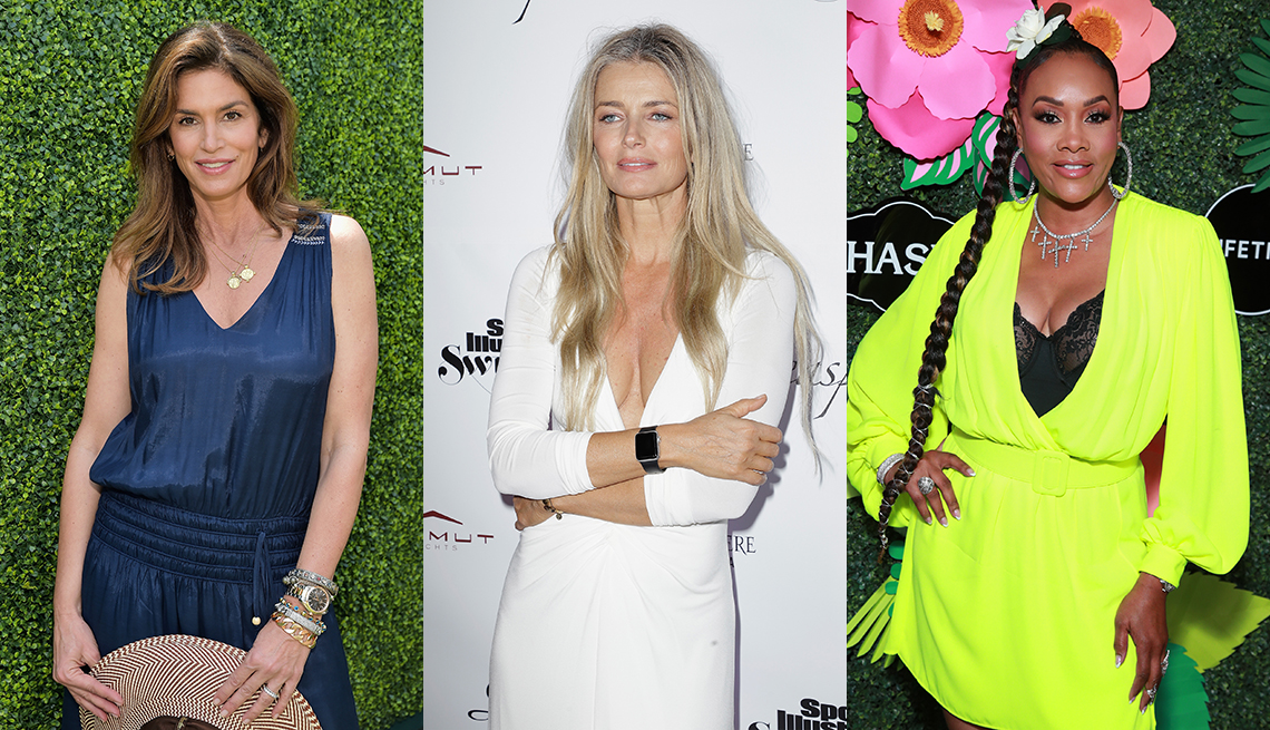 item 9 of Gallery image - Cindy Crawford in subtle makeup and subtle highlights carries her broad brim straw too!; Paulina Porizkova in long natural hair- a grey-blonde mix; Vivica A. Fox in extra long faux braid- hair pulled into a topknot.
