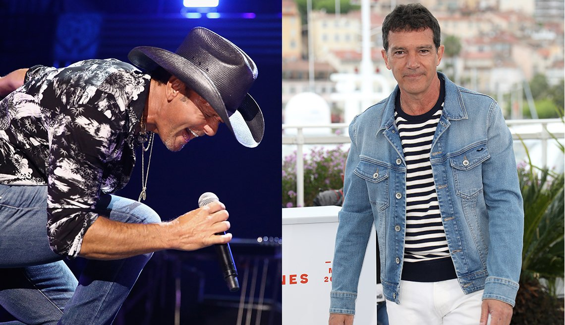 item 20, Gallery image. Tim McGraw in black and white tropical print shirt, cowboy hat and  blue jeans; Antonio Banderas in navy striped T-shirt and denim jacket, white jeans.